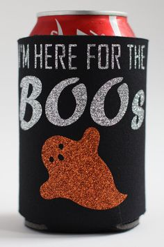 Glitter Halloween Can Cooler  I'm Here for the Boos by AFewOfMyFavesShop