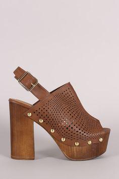 Qupid Perforated Slingback Studded Chunky Platform Mule Heel