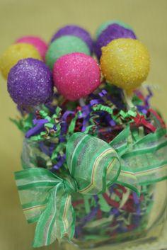 Purple, Hot Pink, Yellow & Aqua Cake Pops