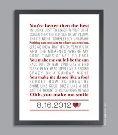 Custom Song 11x14 Lyrical Song Wall Print (custom song lyrics and date) in red & gray on Etsy, $48.00