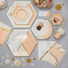 Hexagon Paper Plates Cups Pastel Pink Marble & Gold Party wedding Paper Plates for Baby Shower Supplies Birthday Party Decor