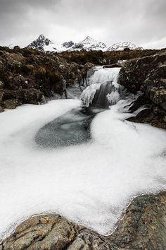Frozen Fairy Poools on the Isle of Skye, Scotland