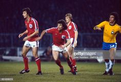 England's Trevor Francis, Kevin Keegan and Peter Barnes, and Brazil's Batista, wait for a corner to be taken Get premium, high resolution news photos at Getty Images Dave Watson, Peter Barnes, Ray Wilkins, Trevor Francis, England Football Players, Bryan Robson, Kevin Keegan, Peter Robinson, Bradford City