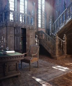Interior Design Renderings by Vladimir Kuzmin – Steampunk Ages Interior Design Renderings by Vladimir Kuzmin Related posts:Ancient history abandoned castle wedding, abandoned.Dayton, OH, Haunted MansionSexy Staircase Abandoned Mansion with. Abandoned Buildings, Abandoned Castles, Old Buildings, Abandoned Places, Abandoned Library, Abandoned Property, Interior Design Renderings, 3d Interior Design, Design Design