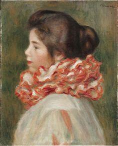 Girl in a Red Ruff: 1896 by Pierre Auguste Renoir (Philadelphia Museum of Art, Philadelphia, PA) - Post Impressionism