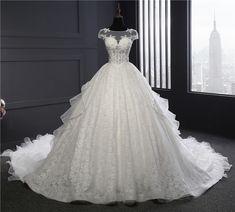 4446fb5c3 جودة عالية ريال صور مخصص زائد الحجم قطار طويل فساتين الكرة ثوب الزفاف  مسلم-ملابس · Princess Wedding DressesScoop ...
