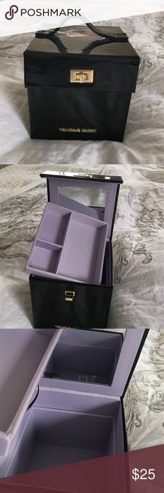 BRAND NEW VS JEWELRY/MAKE UP BOX Stunning black box. Brand new with tags. Deep inner compartment. Mirror. Perfect for a traveling gift. Victoria's Secret Accessories