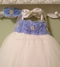 Ivory and Light Blue Tutu Dress Baby Blue Flower Girl by TutuGirl, $89.99