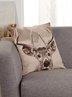Woven deer head cushion 45 x 45 cm - Printed - Assorted Chalet Style, White Duvet Covers, Cushions Online, Boy Decor, Oh Deer, Trendy Colors, Cottage Style, Decoration, Decorative Throw Pillows
