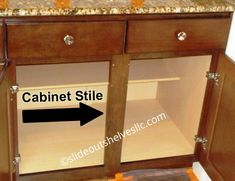 Removing Center Stile Cabinet Face Frame For Wide Shelves - Slide Out Shelves LLC Diy Kitchen Storage, Kitchen Cabinet Shelves, Slide Out Shelves, Home Diy, Kitchen Design, Diy Kitchen, Kitchen Remodel, Kitchen Renovation, Kitchen Projects