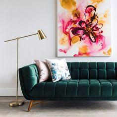 Tribeca Mid-Century Modern Green Velvet Sofa for Living Room - Couch – Edloe Finch Furniture Co. Living Room Sofa, Living Room Furniture, Living Room Decor, Modern Furniture, Rustic Furniture, Antique Furniture, Furniture Dolly, Furniture Design, Furniture Removal