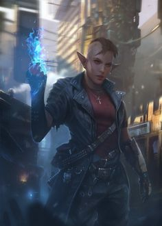 Cyberpunk elf mage – character concept by Piotr Krezelewski Elfen Fantasy, Fantasy Rpg, Cyberpunk 2077, Cyberpunk Girl, Cyberpunk Fashion, Shadowrun Rpg, Space Opera, Female Elf, Science Fiction