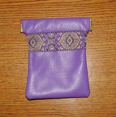 Purple LEATHER Coin Purse With Embroidered by ScentedSoftandSewn