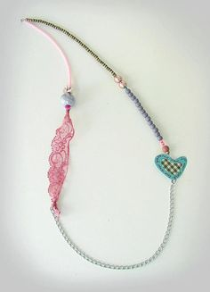 Items similar to Romantic Hearts Collection - Necklace, by Xanthippe - Studio Creativo on Etsy Fabric Jewelry, Etsy Jewelry, Beaded Jewelry, Jewelry Box, Jewelery, Unique Jewelry, Seed Bead Necklace, Beaded Necklace, Necklaces
