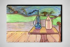 "Saatchi Online Artist: tony backfalt; Colored Pencils, 2013, Drawing ""guard chair 2/or the last sunset"""