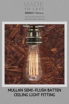 Mullan Semi - Flush Batten Ceiling Light Fitting With a simplistic design, the Bangui Semi-Flush Bat Modern Flush Ceiling Lights, Ceiling Light Fittings, Hall Lighting, Bedroom Lighting, Restaurant Lighting, Commercial Lighting, Night Lamps, Batten, Mason Jar Lamp