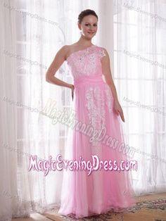One Shoulder Appliqued Pink Cheap Evening Dresses in Soden