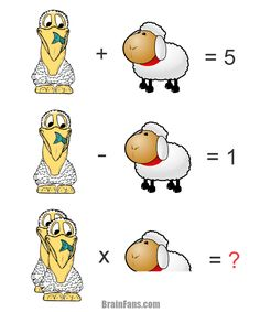 Brain teaser - Number And Math Puzzle - Animals - Can you solve this puzzle with a pelican and sheep? Take a second and look at the images carefully.