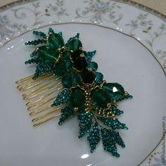 Купить Гребень для волос. Изумрудный. - морская волна, зеленый, изумрудный, гребень для волос, гребень с камнями