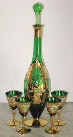Bohemian Czech Glass Wine Set Green Decanter Five Glasses Gilt Enamel Flowers