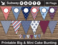 Nautical Party Printable Banner and Mini Cake Bunting. Red White Blue and Navy Anchors. Cake Bunting, Party Bunting, Bunting Flags, Party Banners, Nautical Banner, Nautical Party, Navy Party, Printable Banner, Party Printables