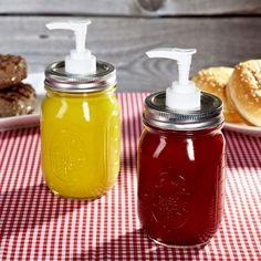 14. Mason Jar Ketchup And Mustard Pumps
