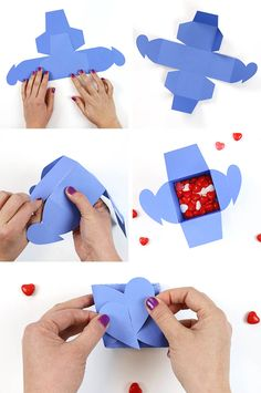 DIY Heart Tab Envelopes and Boxes DIY paper box with a heart tab top! Super cute for Valentines Day or weddings Get the SVG cut file to make boxes with your Silhouette or Cricut The post DIY Heart Tab Envelopes and Boxes appeared first on Paper Diy. Diy Gift Box, Diy Box, Silhouette Cameo, Silhouette Projects, How To Make Box, How To Make Paper, Paper Box Template, Papier Diy, Paper Hearts