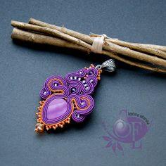 Fiolet & orange #soutache #necklet http://szkatulka-emi.blogspot.com/