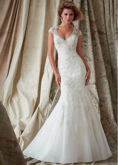Glamorous Organza V-neck Neckline Natural Waistline Mermaid Wedding Dress With Beaded Lace Appliques