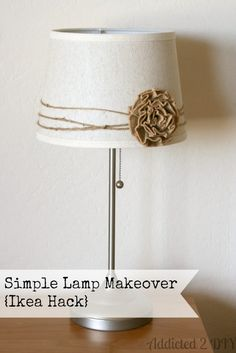 I've had this bedside lamp from Ikea for almost 10 years now. I've always liked it, but it needed a little something to dress it up a bit. When the original pleated paper lampshade fell Lampe Crochet, Home Crafts, Diy Home Decor, Diy Crafts, Paper Lampshade, Lamp Makeover, Deco Nature, Creation Deco, Burlap Crafts