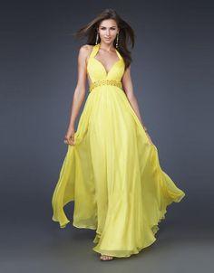 Backless Beaded Chiffon Yellow Evening Dress