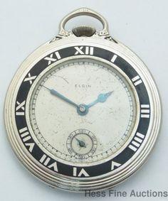 Art Deco Black Enamel Elgin Mens Running Gold Filled Pocket Watch #Elgin