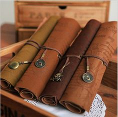 Leather pencil roll, actually love these pirate treasure map styled ones lol, only £2