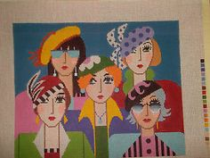 Handpainted Five Friends Lee Needle Arts 18M Needlepoint Canvas 12x13"