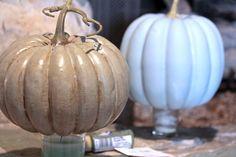 Turning those orange pumpkins into more subdued decor