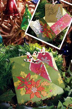 Cartão de Natal de scrapbooking - DIY, Christmas, Craft, Upcycled