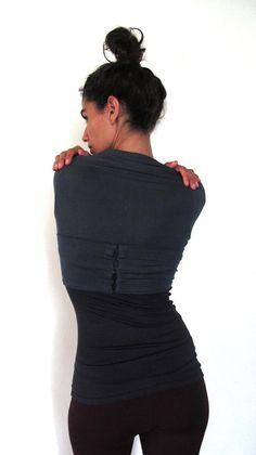 Kali - Multi-way, wrap around bolero top. Yoga top - yoga clothes - dance. Dark grey, Black, Burgundy. Size S,M,L