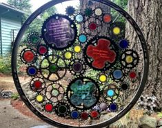 Bicycle Art - Greg LeMond Stained Glass And Recycled Bike Part Bicycle Wheel