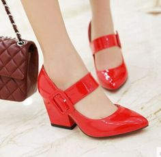 Spring japanned leather sexy button shallow mouth pointed toe thick heel women's single size