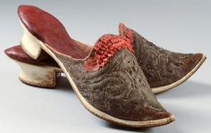 Red leather mules, France, second half of the 18thC. Small heels wrapped in cream leather,  insoles red leather quilted. Decorated with ruched red ribbon and sequins.