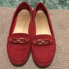 Sold! Sold! Lovely red loafers authentic Coach Comfortable only used once, in perfect condition! Coach Shoes Flats & Loafers