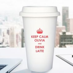 Personalised Keep Calm Ceramic Travel Mug Personalized Christmas Gifts, Christmas Gifts For Her, Calm, Mugs, Tableware, Travel, Dinnerware, Viajes, Personalised Christmas Gifts