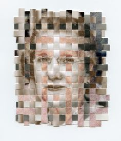 Portraits composed of three found photos–each from a different point in the subject's life–that have been cut into strips and woven together