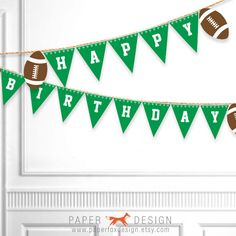 Football Birthday Banner Printable by PaperFoxDesign on Etsy
