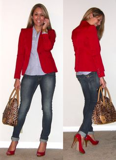RED! Love the red blazer and the shoes! Must find red shoes.