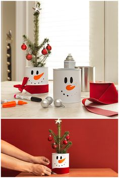 ~ Paint on a paint can to make these adorably fun and easy snowman centre pieces! Fill it with candy, a mini Christmas tree or just use it as a gift box. Supplies available at HD!