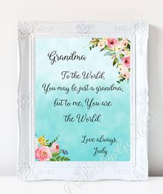 Mothers Day Gift For Grandma Personalized Birthday Grandmother Granddaughter To