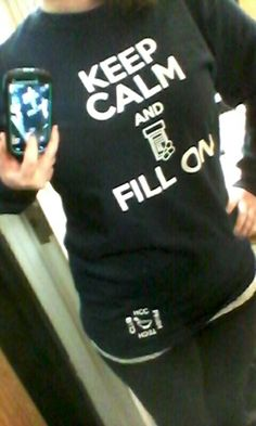 The shirt I designed for my pharmacy technician classes club, KEEP CALM AND FILL ON