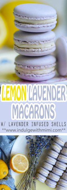 Dainty Lavender Lemon Macarons - - Lemon Lavender is a flavor pairing made in heaven! Recipe for this delicate macaron with lavender INFUSED shells and a mouth-watering lemon buttercream. Lemon Macaroons, Lavender Macarons, Lavender Cake, French Macaroons, Lavender And Lemon, Baking Recipes, Cookie Recipes, Dessert Recipes, Baking Ideas