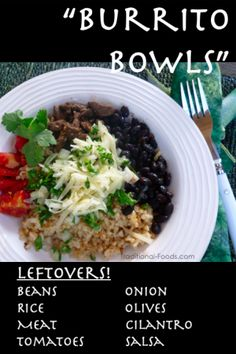 Burrito Bowl from Leftovers (let each family member put their own together. GP: lean ground beef/turkey/crumbled tofu, rice, cilantro finely chopped, & taco sauce [smooth]...GPers CAN eat Mexican!)